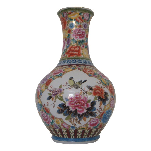 """Large Oriental Gold/Floral Hand Painted Vase H22"""" - Image 1 of 6"""