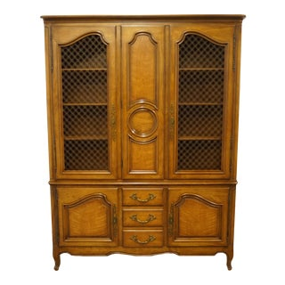 """Late 20th Century Henredon Furniture Country French Provincial 61"""" China Cabinet For Sale"""