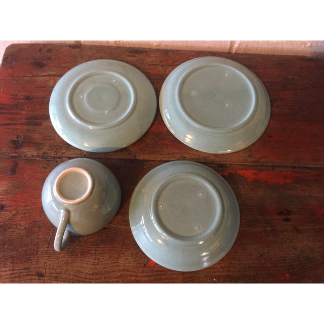 Mid-Century Pottery Aqua Speckled Dishes - Set of 4 For Sale - Image 4 of 5