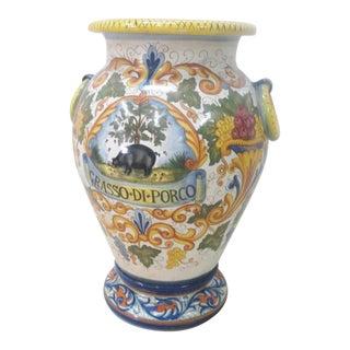 Large Italian Majolica Floor Vase