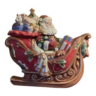 Fitz & Floyd Santa's Sleigh Full of Toys Cookie Jar For Sale