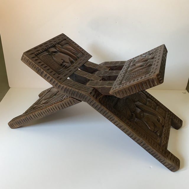 Antique Hand Carved Wooden Folding Stool For Sale - Image 9 of 9