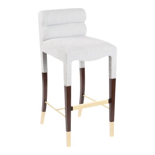 Gardner Bar Stool in White Linen For Sale