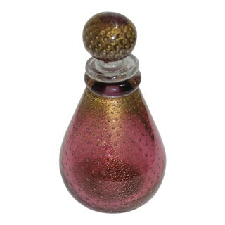 Murano Glass Gold Flecked Raspberry Colored Decanter by Seguso For Sale