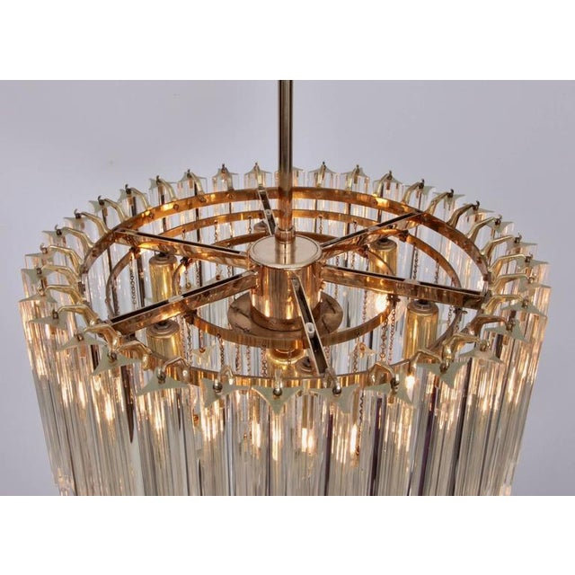 1960s Huge Murano Triedri Glass and Brass Chandelier by Venini For Sale - Image 5 of 7