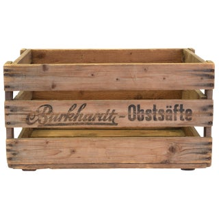 """Burkhardt-Obstsafte"" European Vintage Wood Wine Crate"
