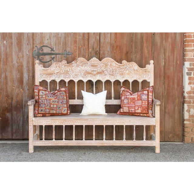 Wood Spanish Colonial High Back Bench For Sale - Image 7 of 10