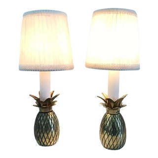Pair Vintage Mid Century Hollywood Regency Small Brass Pineapple Candlestick Accent Table Lamps For Sale