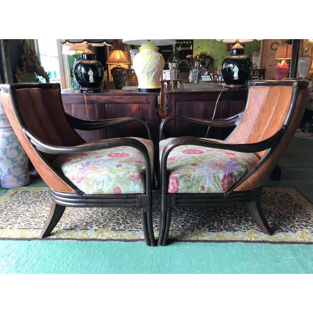 Boho Chic Palecek Rattan and Woven Wicker Pair Chairs and Ottoman For Sale - Image 3 of 13