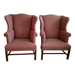 19th Century Wingback Chippendale Style Armchairs- A Pair For Sale