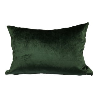 Night Watch Green Velvet Feather Down Accent Pillow, Custom-Tailored For Sale