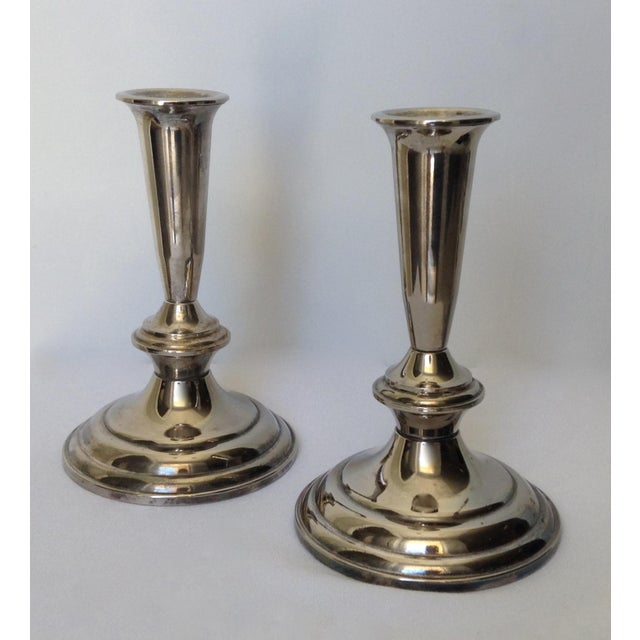 British Colonial Silver Plate Gorham Candle Holders - a Pair For Sale - Image 3 of 11