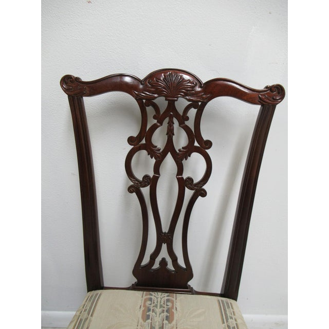 2000s Modern Ethan Allen 18th Century Style Mahogany Chippendale Dining Room Side Chairs- A Pair For Sale - Image 5 of 12