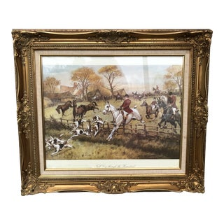 Equestrian Fox Hunting Scene With Gilded Frame** For Sale