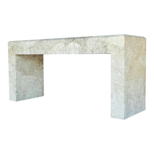 Karl Springer Style Parchment Console Table For Sale