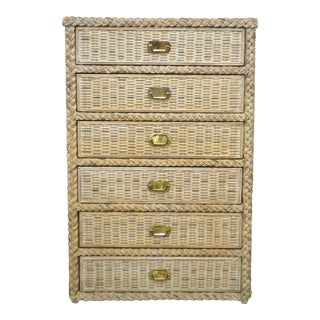 1960s Hollywood Regency Woven Rattan Chest Of Drawers For Sale