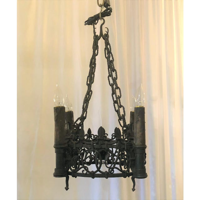Gothic Antique French Wrought Iron Fixture, Circa 1880-1890. For Sale - Image 3 of 3
