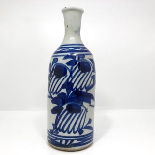 Japanese Sake Bottle With Hand-Painted Underglaze Blue Decoration Preview