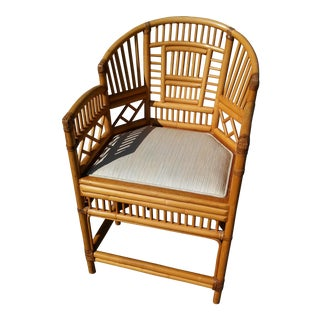 Vintage Brighton Pavilion Chinoiserie Rattan and Bamboo Club Chair