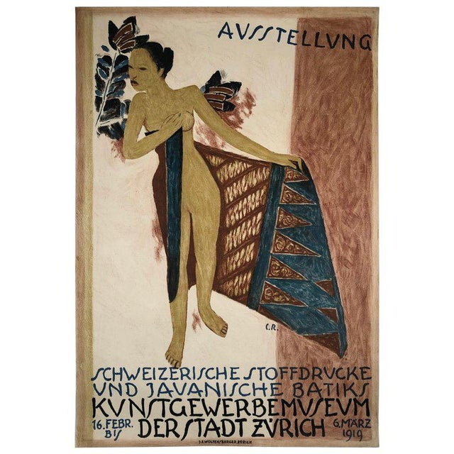 1919 Poster for Swiss Exhibition of Javanese Indonesian Batik Prints For Sale - Image 12 of 12