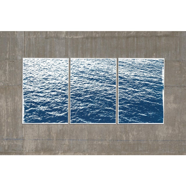 Bright Seascape in Capri, Navy Cyanotype Triptych 100x210 Cm, Classic Blue Edition of 20. For Sale - Image 9 of 11