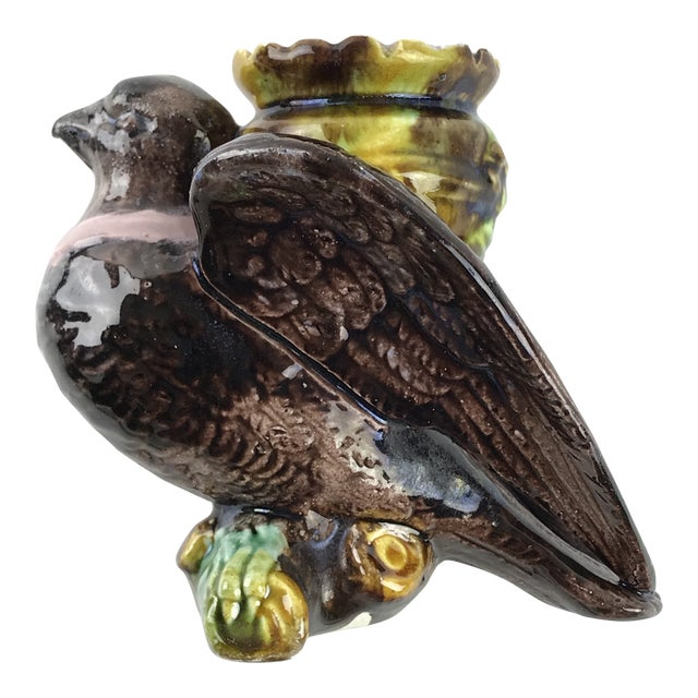 Majolica Toothpick Holder Bird Figurine For Sale