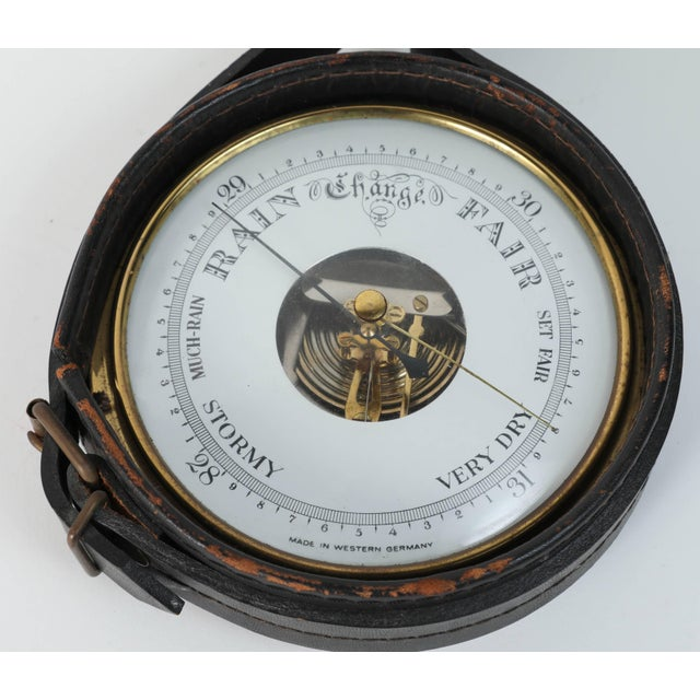 Art Deco Brass German Barometer with Readings in English Wrapped in Leather For Sale - Image 3 of 5