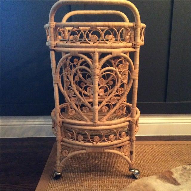 Vintage Bamboo & Rattan Bar Cart - Image 5 of 7