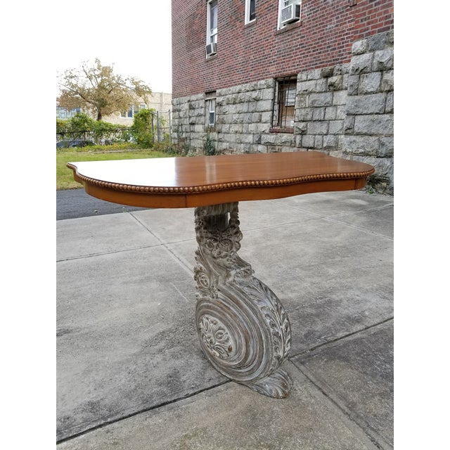 Antique French Carved Wood & Mahagony Console Table For Sale - Image 10 of 10