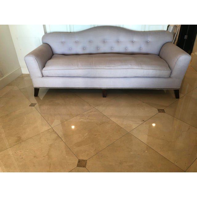1940's Vintage Style Linen Button Tufted Sofa For Sale - Image 10 of 10