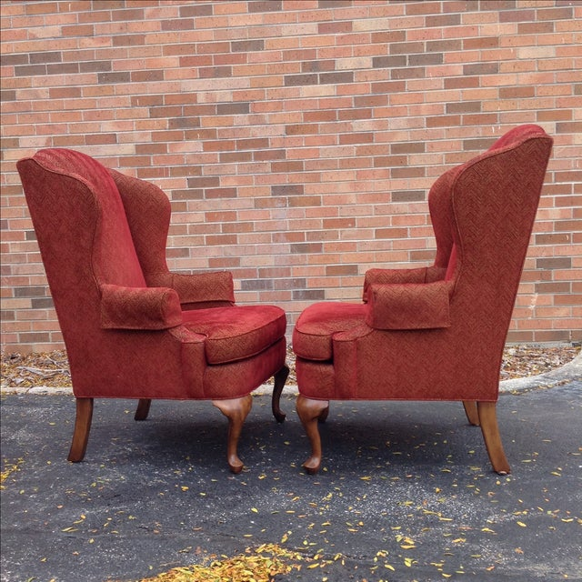 Red Walter E. Smithe Wingback Chairs - Pair For Sale - Image 8 of 10