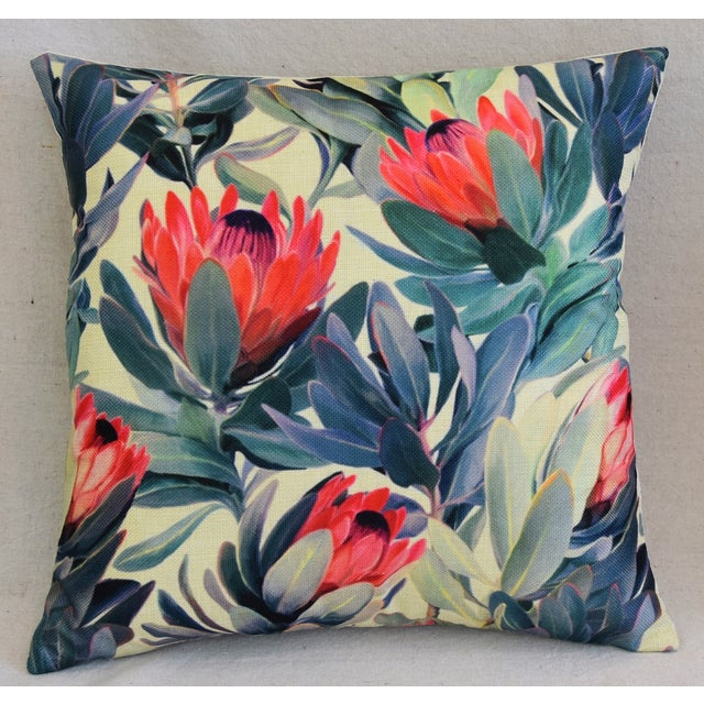 "18"" Colorful Tropical Protea Floral Feather/Down Pillows - a Pair - Image 3 of 11"