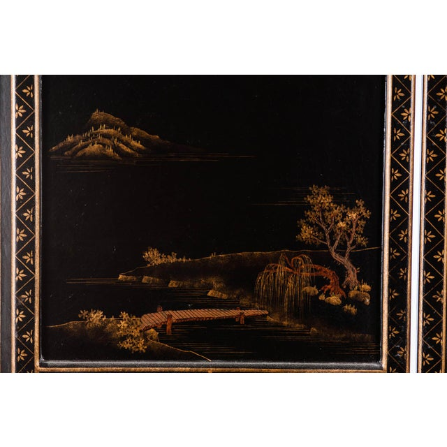 Japanese Large Four-Panel Landscape Scenes With Individual Raised Frames Screen/Room Divider 6 Ft W X 6.5 Ft H by Lawrence & Scott For Sale - Image 11 of 12