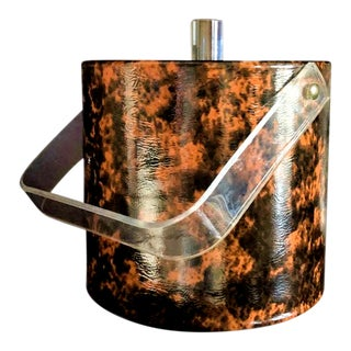 Vintage Faux Burl Lucite Ice Bucket in the Manner of Georges Briard For Sale