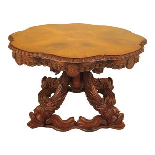 Inlaid Walnut Top Center Table For Sale