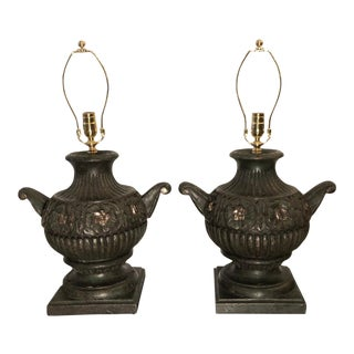 Pair of 18th C Style Carved Wood Urn Form Designer Table Lamps For Sale