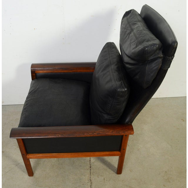 1960s Hans Olsen Knut Saeter Vatne Mobler Rosewood Leather High Back Chair For Sale - Image 5 of 8