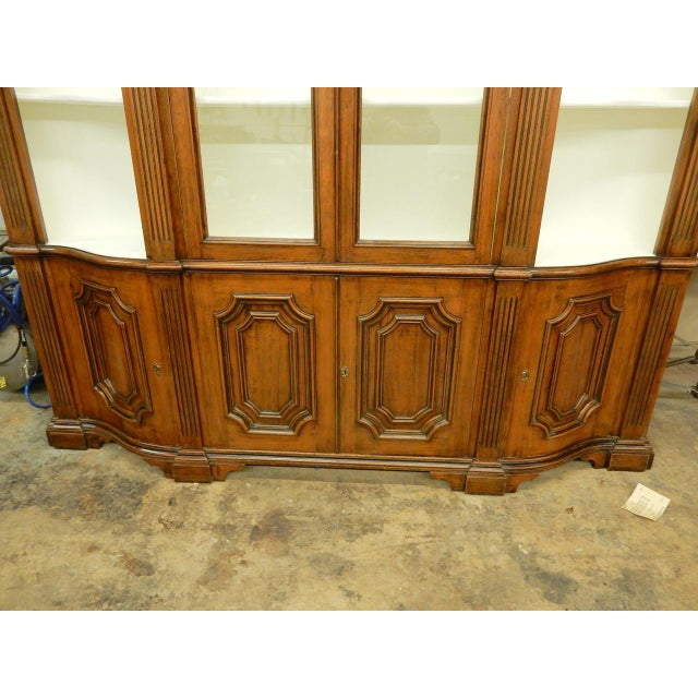 Glass Narrow Walnut 19th C Italian Breakfront For Sale - Image 7 of 8