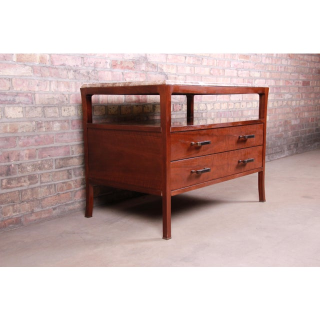 Contemporary Baker Furniture Modern Mahogany Marble Top Buffet Server For Sale - Image 3 of 13