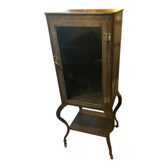 1930's Raw Steel Cabriole Leg Medical Cabinet For Sale