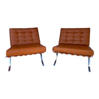 Selig Vinyl and Chrome Lounge Chairs- A Pair For Sale