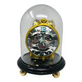 Image of Vintage Pop Art Mercury Glass Clock Ornament in Hand Painted Cloche   Christmas Decor For Sale