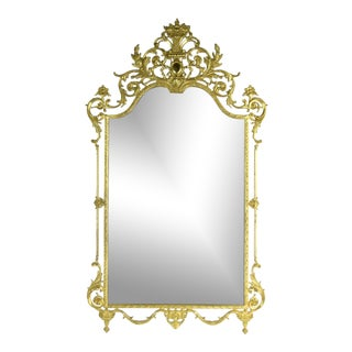 Louis XVI Style Cast Brass Wall Mirror W Floral Urn and Scrolling Foliate Motifs For Sale