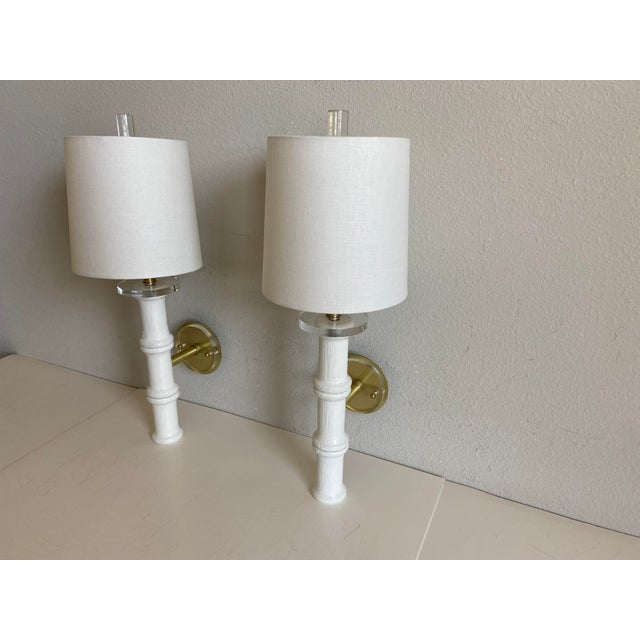 1950s Bamboo-Style Sconces & Shades - a Pair For Sale - Image 5 of 11