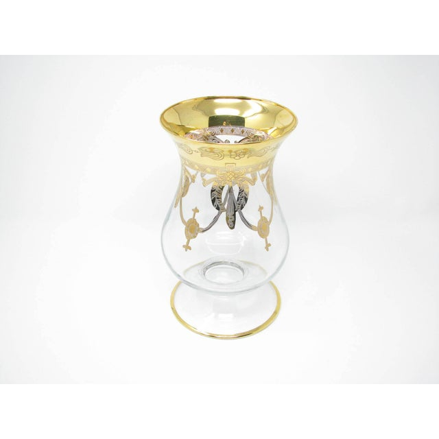 Art Deco Vintage Same Cristallerie Italy Glass and 24k Gold Encrusted Large Footed Vase For Sale - Image 3 of 13