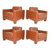 Image of De Sede Leather Lounge Chairs- Set of 4 For Sale