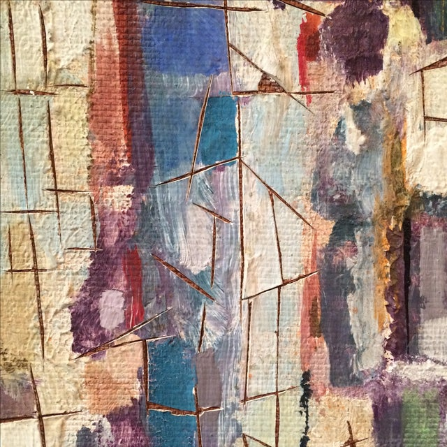 Mid-Century Abstract Cityscape Painting - Image 9 of 9