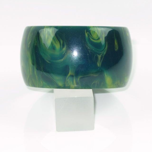 Contemporary Bakelite Bangle Bracelet Blue-Moon Marble Oversized Wide Shape For Sale - Image 3 of 5