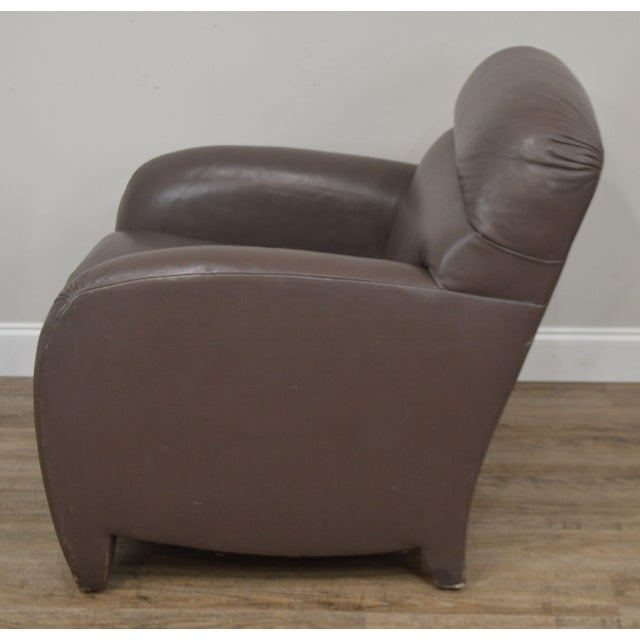 Donghia Leather Lounge Chair With Ottoman For Sale - Image 10 of 13
