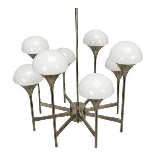 Italian Chrome and White Glass Eight Light Chandelier